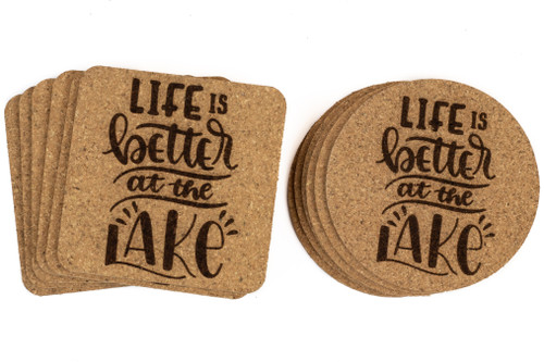 Life Is Better At The Lake Cork Coasters