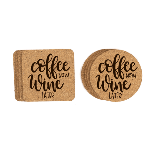 Coffee Now, Wine Later Cork Coasters Baum Designs