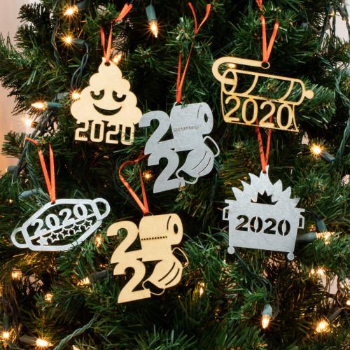 Funny 2020 Christmas Ornament Metal Wood