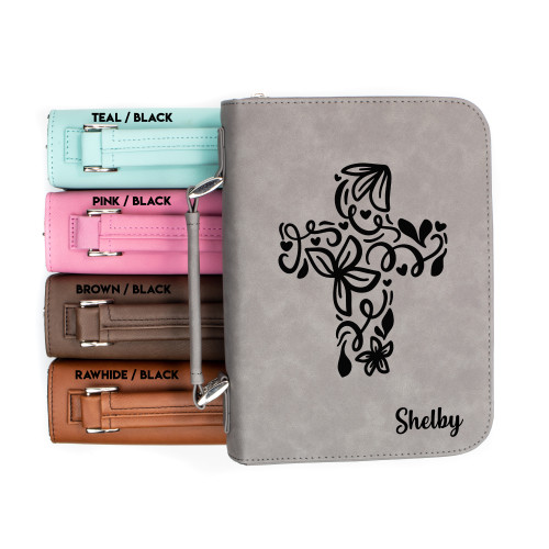 Personalized Flourished Cross Faux Leather Bible Cover