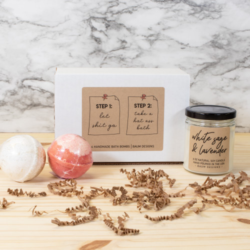 Let Shit Go, Take A Hot Ass Bath Gift Set - 6 oz. Soy Candle + 2 Bath Bombs