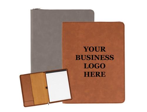 Personalized Business Logo Portfolio Faux Leather