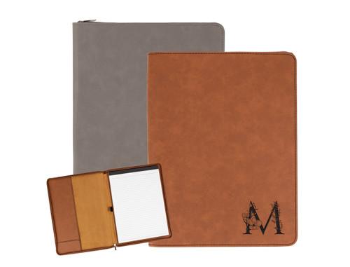 Personalized Floral Monogram Portfolio Faux Leather