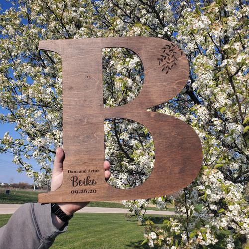 Monogram Alternative Wedding Guest Book Wood Baum Designs