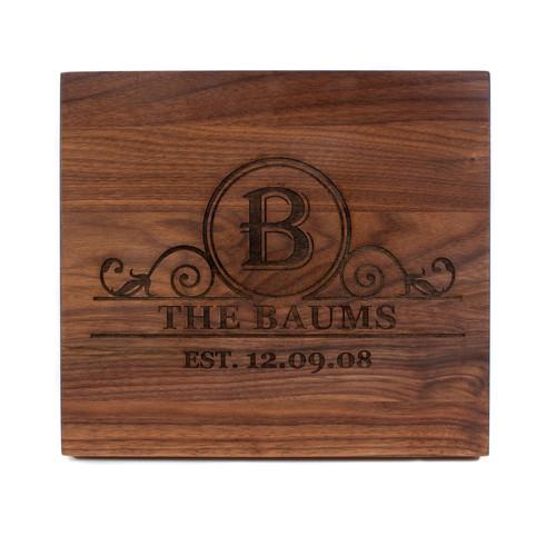 Personalized Walnut Cutting Board Engraved Monogram Baum Designs