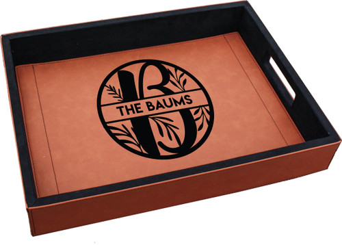 Personalized Monogram Leaf Serving Tray Faux Leather Baum Designs
