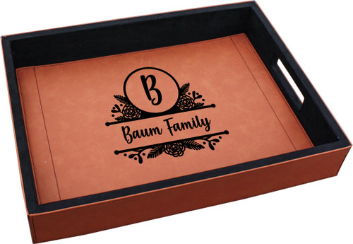 Personalized Floral Monogram Serving Tray Faux Leather Baum Designs