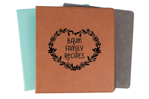 Personalized Recipe Book Floral Binder Faux Leather Baum Designs