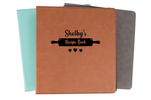 Personalized Recipe Book Binder Faux Leather Baum Designs