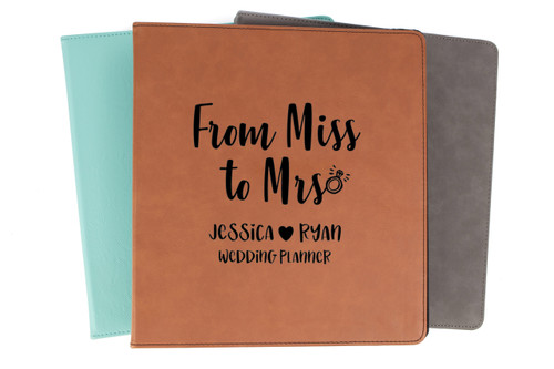 Personalized From Miss To Mrs Wedding Planner Binder Faux Leather Baum Designs