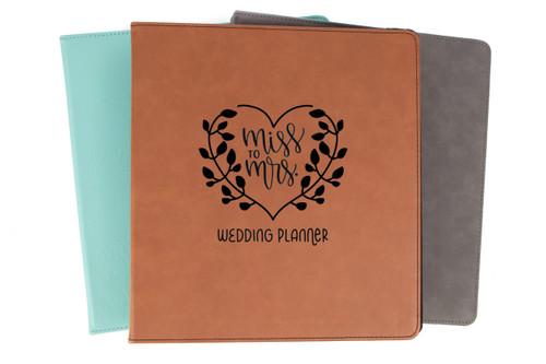 Miss To Mrs. Wedding Planner Binder Faux Leather Baum Designs