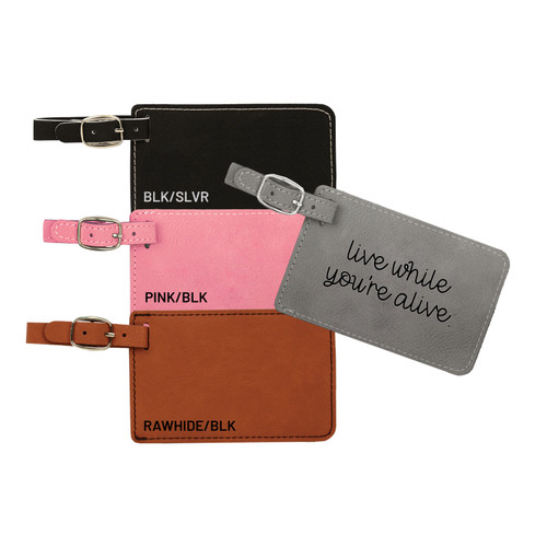 Live While You're Alive Luggage Tag Faux Leather Baum Designs