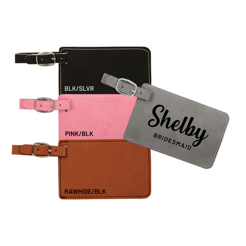 Wedding Party Personalized Luggage Tag Faux Leather Baum Designs