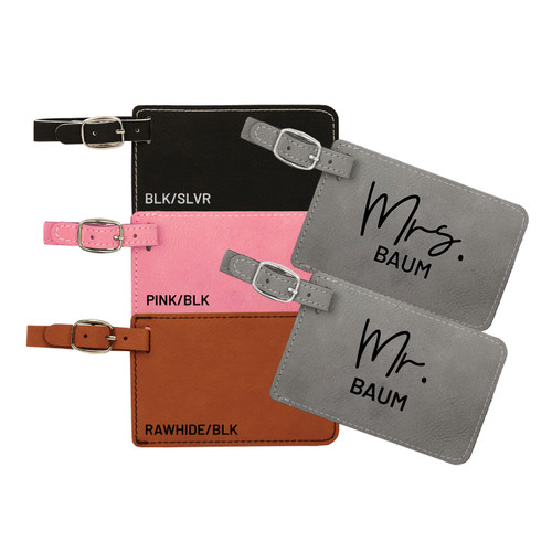 Personalized Mr & Mrs. Luggage Tag Faux Leather Baum Designs