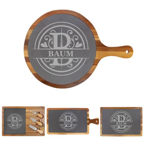 Personalized Monogram  Cheese Board Wood + Slate Baum Designs