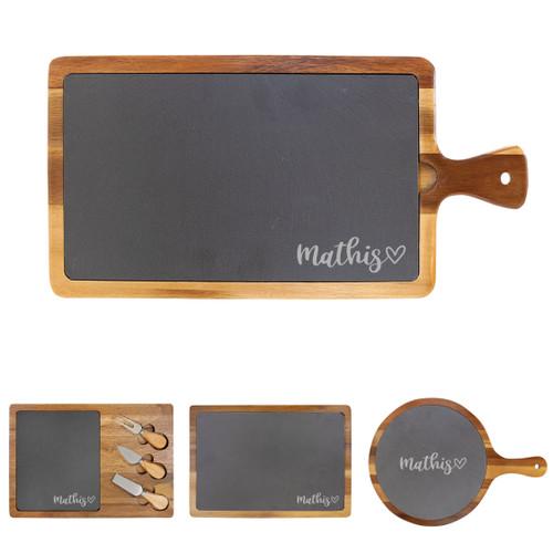 Personalized Heart Cheese Board Wood + Slate Baum Designs