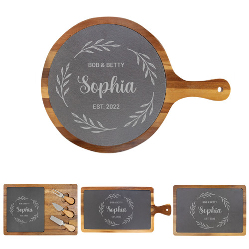 Personalized Wreath Cheese Board Wood + Slate Baum Designs