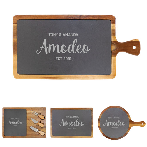 Personalized Cheese Board Wood + Slate Baum Designs