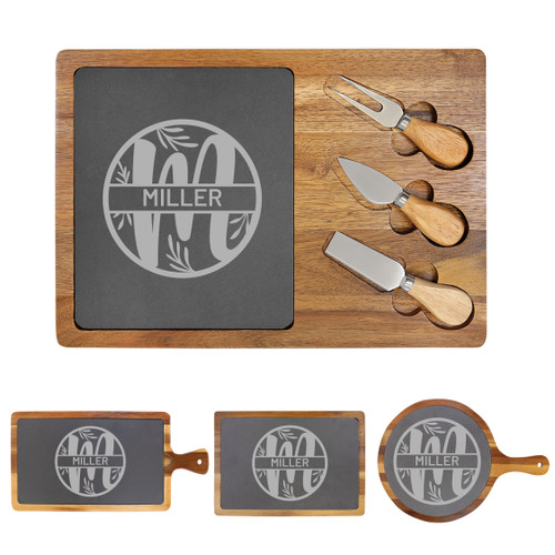 Personalized Monogram Leaf Cheese Board Wood + Slate Baum Designs