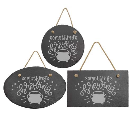 Somethings Brewing Cauldron Slate Sign Baum Designs