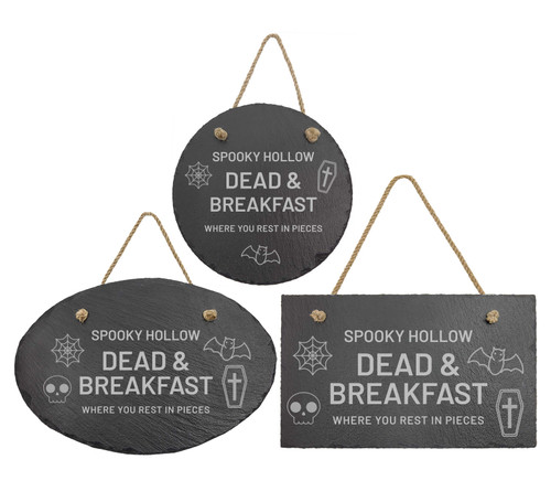 Spooky Hollow Dead & Breakfast Rest In Pieces Slate Sign Baum Designs