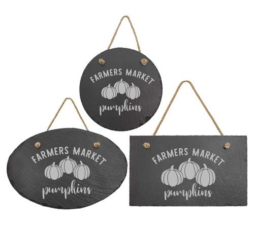 Farmers Market Pumpkins Slate Sign Baum Designs