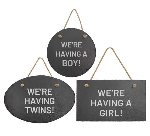 Pregnancy Gender Reveal Slate Sign Baum Designs