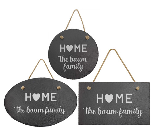 Personalized Home Is Where The Heart Is Slate Sign Baum Designs