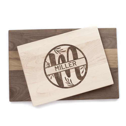 Personalized Modern Monogram Cutting Board Baum Designs