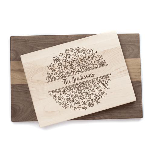 Personalized Floral Vine Cutting Board Baum Designs