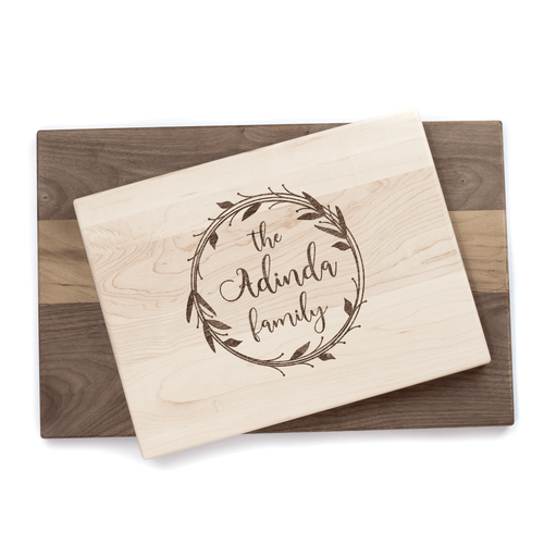 Personalized Wreath Cutting Board Baum Designs