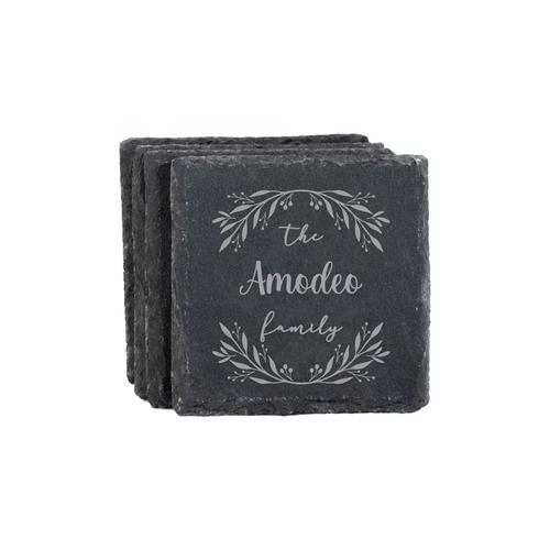Personalized Family Slate Coasters - Set Of 4 Baum Designs