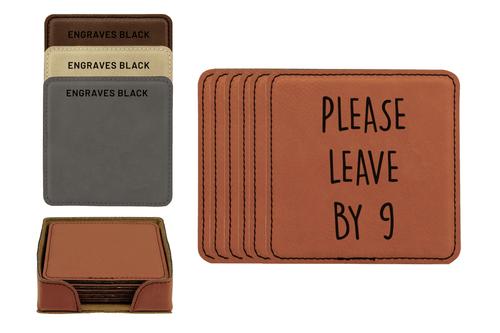 Please Leave By 9 Faux Leather Coaster Set Baum Designs