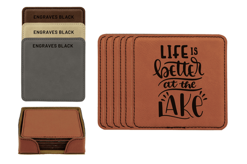 Life Is Better At The Lake Faux Leather Coaster Set Baum Designs