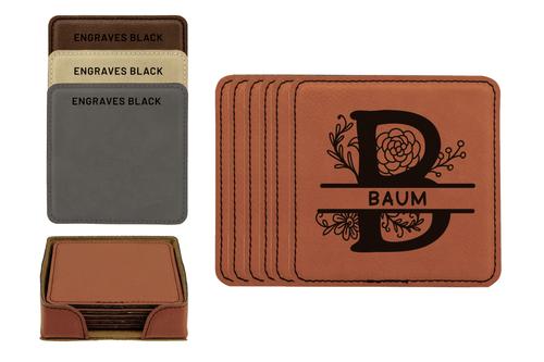 Personalized Floral Monogram Faux Leather Coaster Set Baum Designs