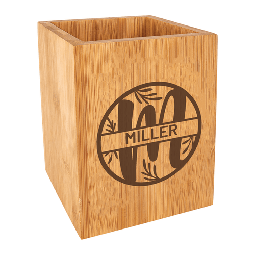 Personalized Leaf Monogram Kitchen Utensil Holder Bamboo Wood Baum Designs
