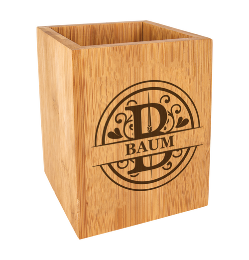 Personalized Monogram Kitchen Utensil Holder Bamboo Wood Baum Designs