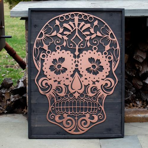 Sugar Skull Metal & Wood Sign Baum Designs