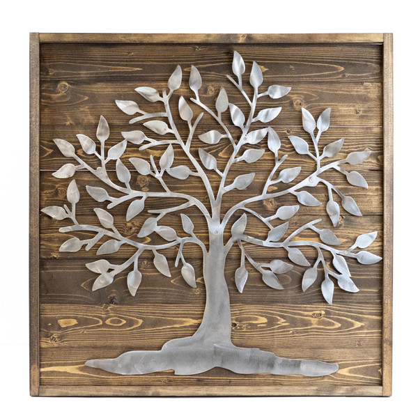 Large Tree Metal and Wood Wall Decor Sign
