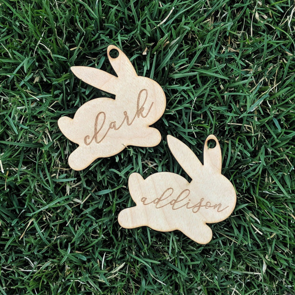 Personalized Easter Bunny Basket Name Tag Wood