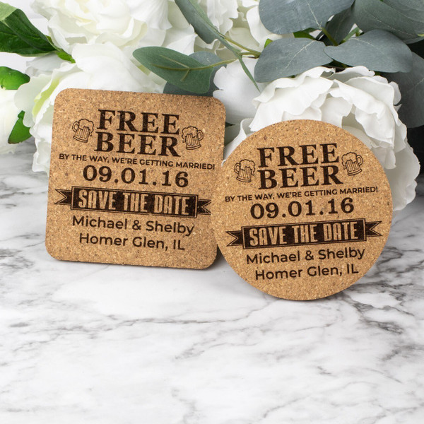Free Beer Save The Date Cork Coasters