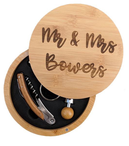 Personalized Wine Tool Set Bamboo