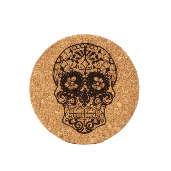 Sugar Skull Cork Pot Holder