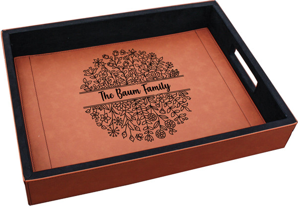 Personalized Floral Serving Tray Faux Leather Baum Designs