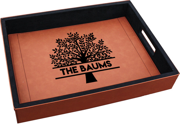 Personalized Family Tree Serving Tray Faux Leather Baum Designs