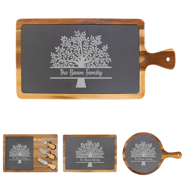 Personalized Family Tree Cheese Board Wood + Slate Baum Designs