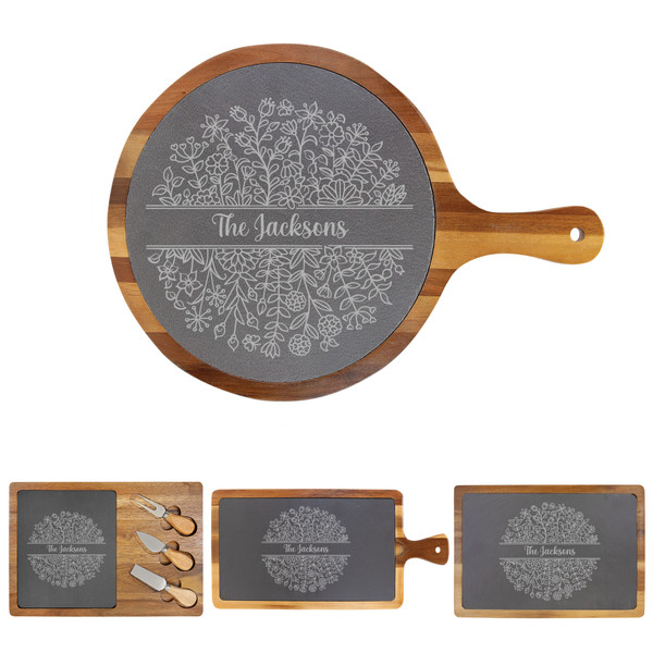 Personalized Floral Cheese Board Wood + Slate Baum Designs