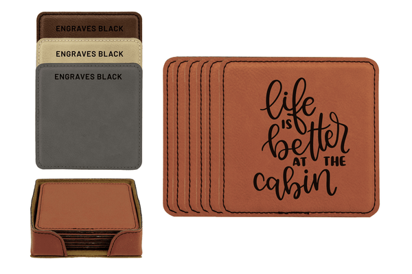 Life Is Better At The Cabin Faux Leather Coaster Set Baum Designs