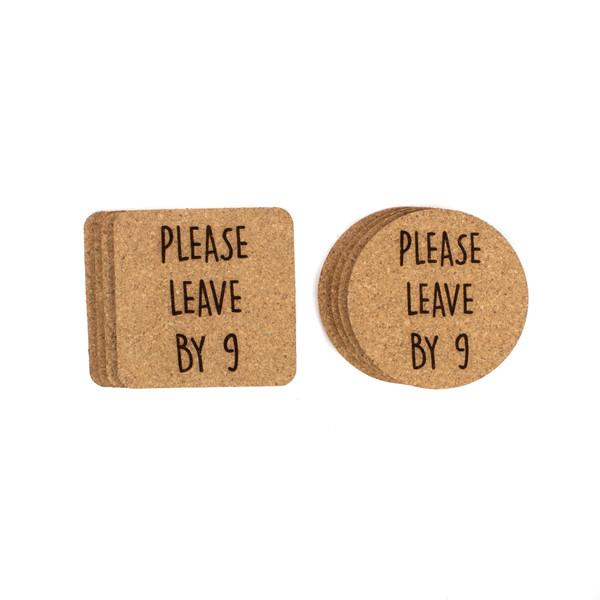 Please Leave By Nine Cork Coasters Baum Designs