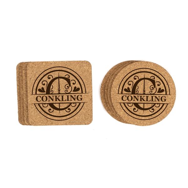 Personalized Monogram Cork Coasters Baum Designs